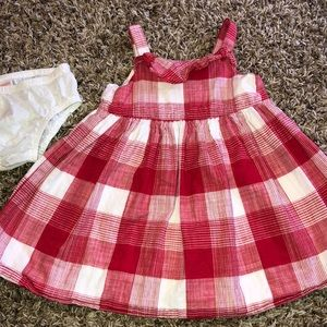 Plaid red and white toddler dress